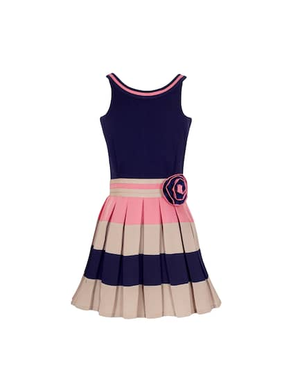 Naughty Ninos Girls Navy Blue Striped Fit And Flare Dress