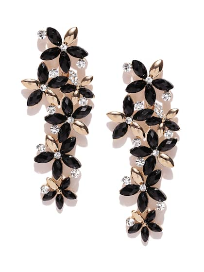 Jewels Galaxy Black Gold Plated Handcrafted Fl Drop Earrings