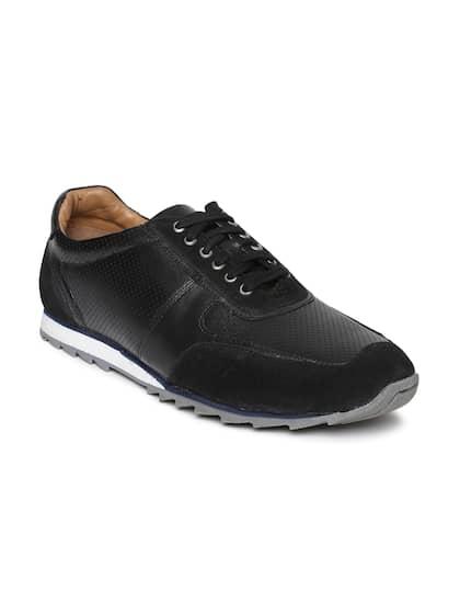Bata Men Black Perforated Sneakers