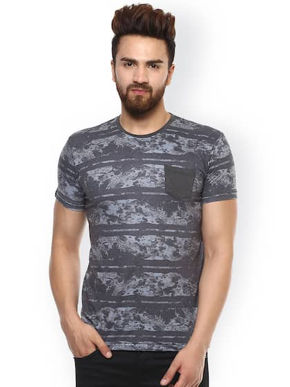 Mufti Men Grey Printed Round Neck T-shirt