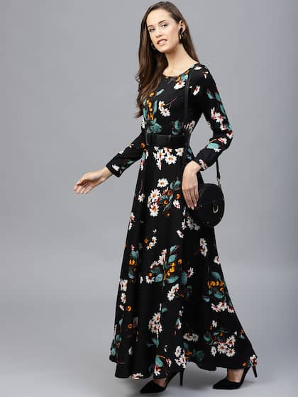 cb27d058def Neck. + 11 more. Tokyo Talkies Women Black Printed Maxi Dress