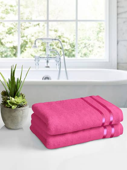 Storyhome Pink 100 Cotton Bath Towel Set Of 2