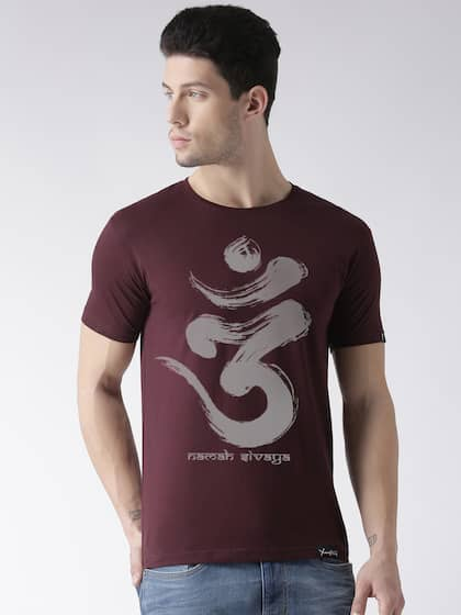 Young Trendz Men Maroon Printed Round Neck T-shirt