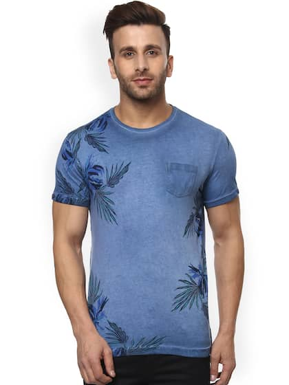 Mufti Men Blue Printed Round Neck Slim Fit T-shirt