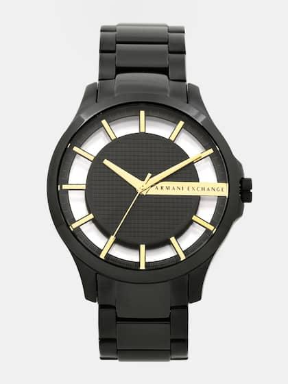 92b6ed19a Armani Exchange Men Black & Gold-Toned Analogue Watch AX2192
