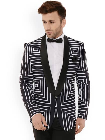 423ada620 Hangup Men Black & White Geometric Regular Fit Print Tuxedo Blazer