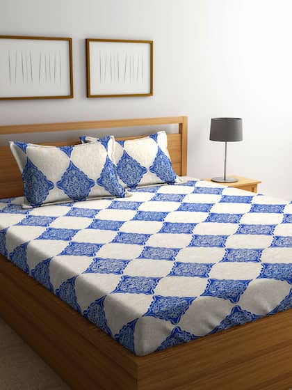 Cortina Blue & White Ethnic Motifs Flat 104 TC Cotton 1 Queen Bedsheet with 2 Pillow Covers