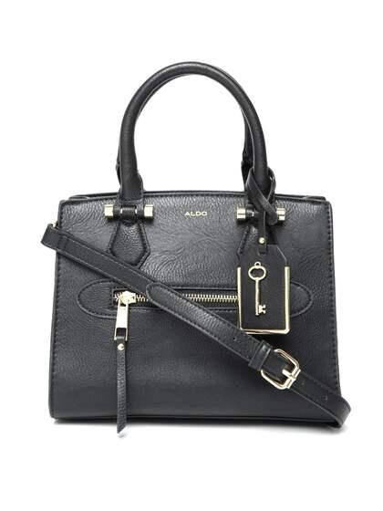 Aldo Black Solid Handheld Bag With Sling Strap