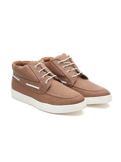 Carlton London Men Brown Solid Textile Mid-Top Sneakers