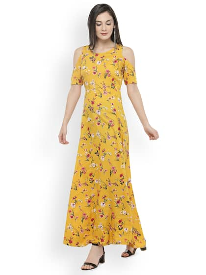 PlusS Women Mustard Yellow Red Printed Cold Shoulder Maxi Dress