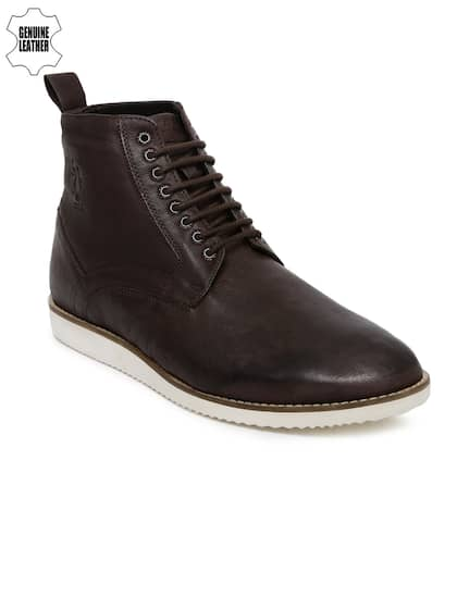 Men Genuine Leather Flat Boots