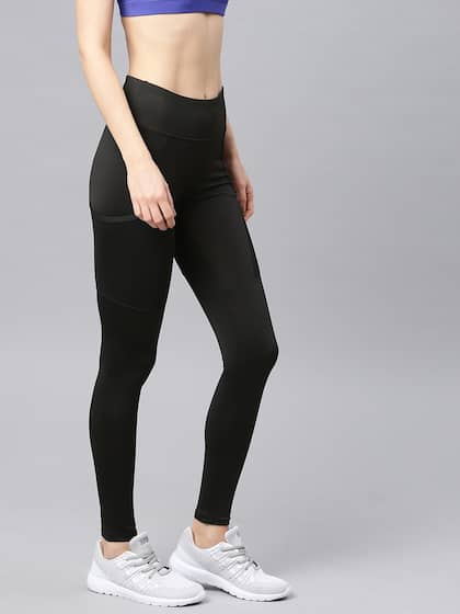 ef2c53d15 HRX Active by Hrithik Roshan Women Black Solid Rapid Dry Tights