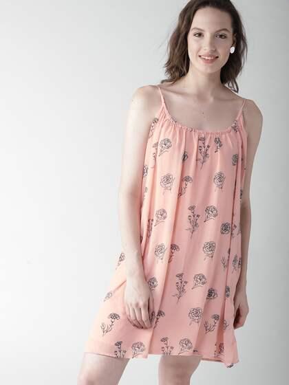 371bd52ed Mast & Harbour Women Peach-Coloured Floral Print A-Line Dress