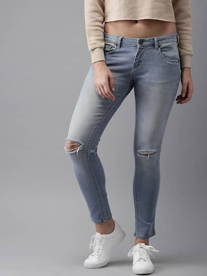 HERE&NOW Women Blue Slim Fit Mid-Rise Slash Knee Stretchable Jeans