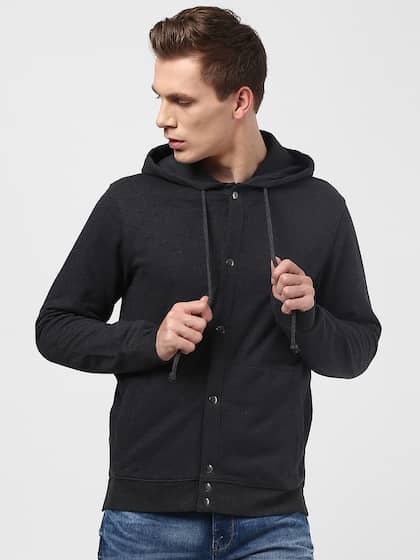bhane Men Charcoal Solid Tailored Hooded Jacket