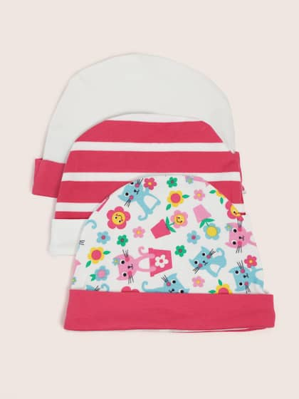 3c2538813aff YK Organic Girls Pack of 3 Pink   White Beanies