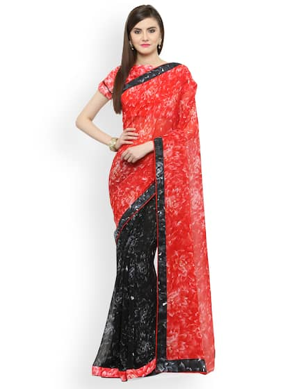 73bb812dcca69d Red And Black Printed Sarees - Buy Red And Black Printed Sarees ...