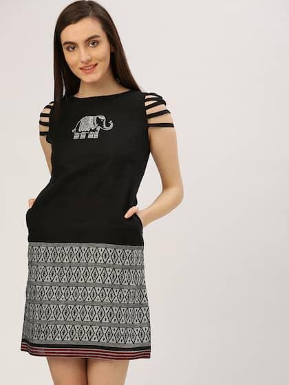 Jaipur Kurti Women Black Printed Sheath Dress