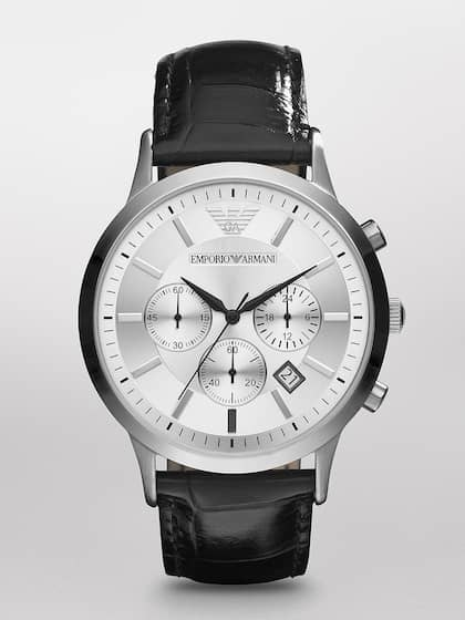 4ac3ca05052 Emporio Armani Men Silver-Toned   Silver-Toned Analogue Watch AR2432I