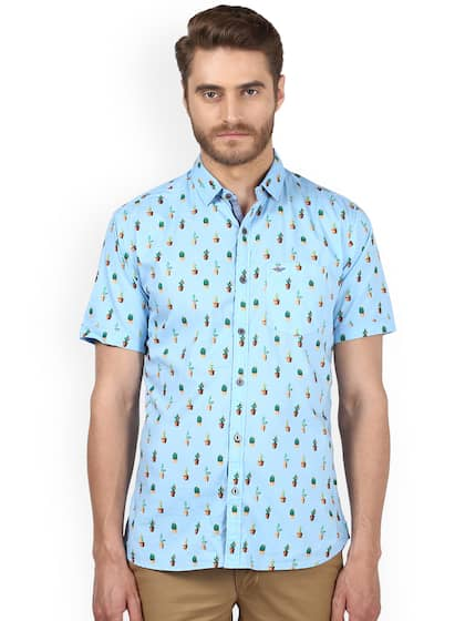 Park Avenue Men Blue Slim Fit Printed Casual Shirt