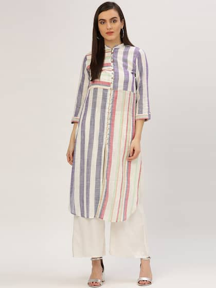 Jaipur Kurti Women Multicoloured Striped Straight Kurta