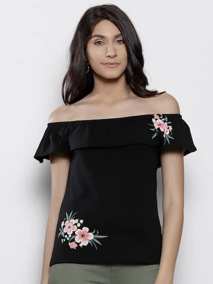 e6d2dc64c4ae84 Black Off Shoulder Top - Buy Black Off Shoulder Top online in India