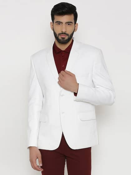 e654c1504a2 Wintage White Checked Single-Breasted Tailored Fit Linen Formal Blazer