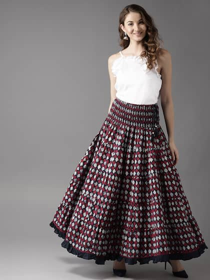687699c7a7b HERE NOW. Women Tiered Maxi Flared Skirt