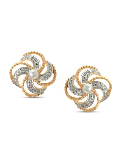 Mia by Tanishq 14KT Diamond and Pearl Floral Studs