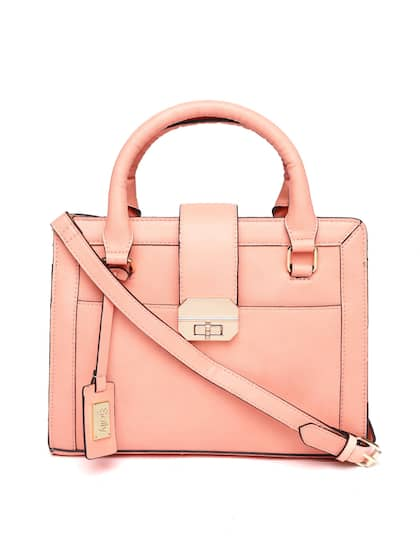 Allen Solly Peach Coloured Solid Handheld Bag