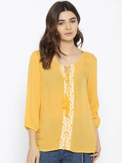 4315e89d966b17 Akkriti By Pantaloons Tops Women Yellow - Buy Akkriti By Pantaloons ...