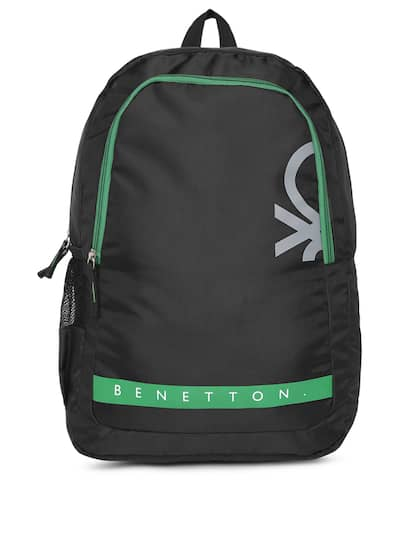 21fab8b55c United Colors of Benetton Unisex Black   Green Brand Logo Backpack