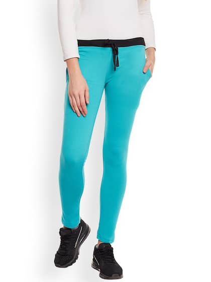 VIMAL JONNEY Turquoise Blue Slim Fit Solid Track Pants