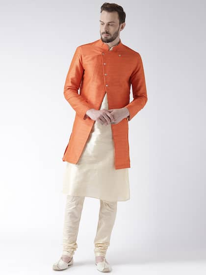 beb4e62ca56 DEYAAN Men Orange   Cream-Coloured Self-Design Silk Sherwani With Achkan