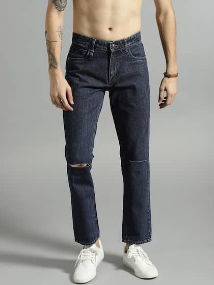 Roadster Men Navy Slim Fit Mid-Rise Slash Knee Jeans