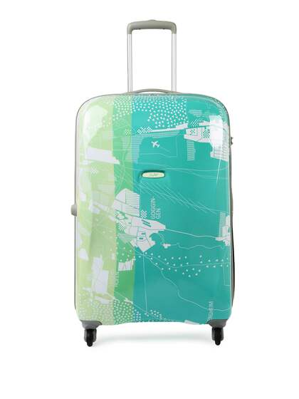06244270de Skybags Unisex Green   White ESCAPE STROLLY 79 360 ESP Large Trolley  Suitcase