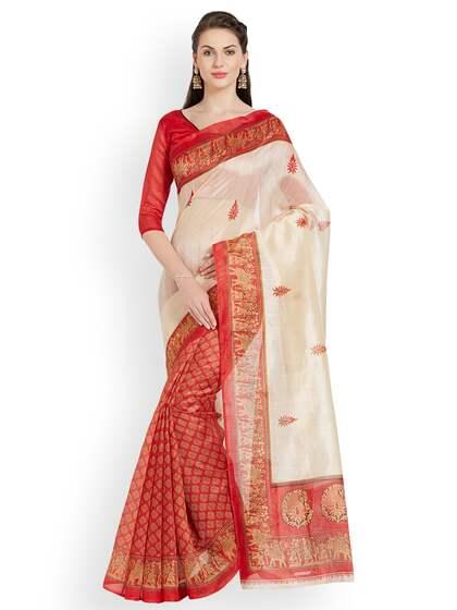 ed5fc6e240 Cream Saree   Buy Cream Colour Sarees Online in India