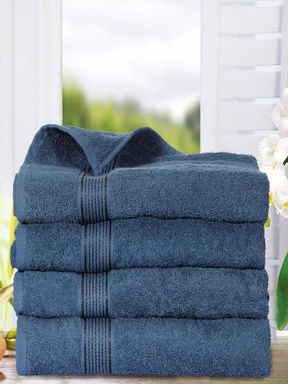 BIANCA Set Of 4 Navy Blue 380 GSM Cotton Bath Towels