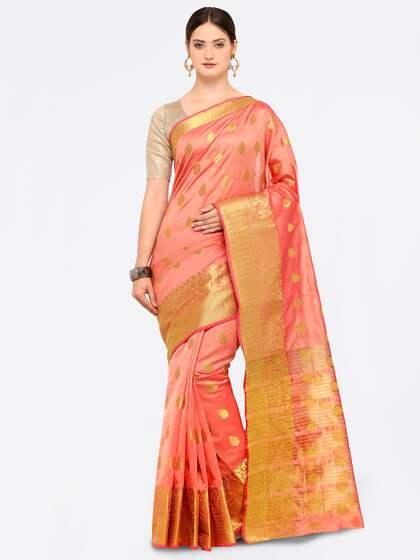 fb650ba56a Peach Saree - Buy Peach Color Sarees online | Myntra