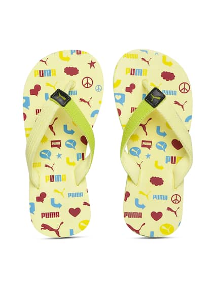 ba9a4a0047748 Puma Kids Yellow   Lime Green Terry Y1 GU JR IDP Printed Thong Flip-Flops