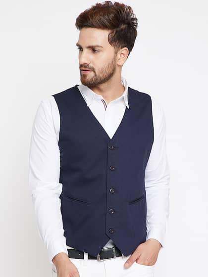 e1a7f006860 CHILL WINSTON Men Blue Solid Waistcoat