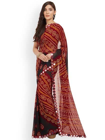 fd2df9bdf2b221 Mirror work Sarees - Designer Mirror work Saree - Myntra