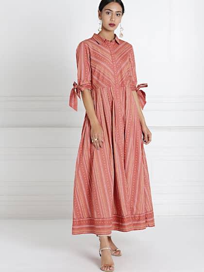 All About You By Deepika Padukone Women Peach Coloured Striped Midi Shirt Dress