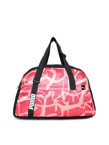 Puma Women Pink   Black Printed Core Active Sportsbag M Duffel Bag 3e02d72651b15
