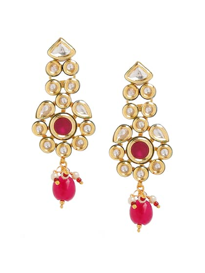 45d19a50b Bamboo Tree Jewels Gold-Toned & Red Contemporary Drop Earrings
