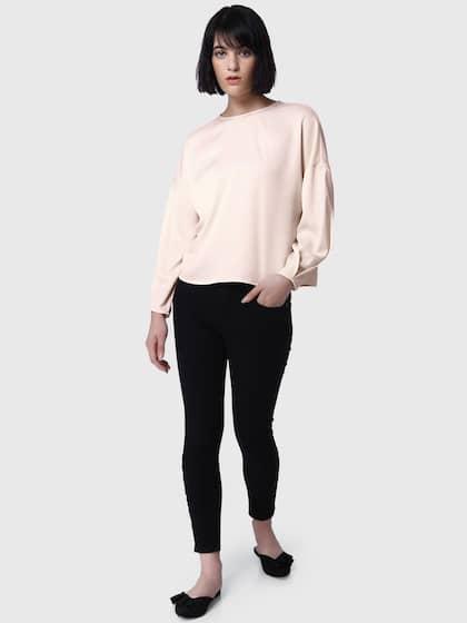 Vero Moda Women Cream-Coloured Solid Styled Back Top