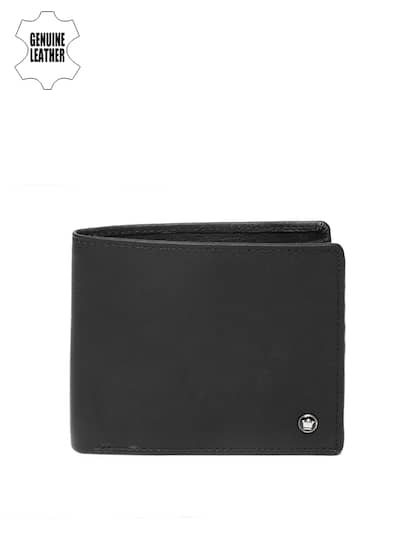 Louis Philippe Men Black Solid Genuine Leather Two Fold Wallet