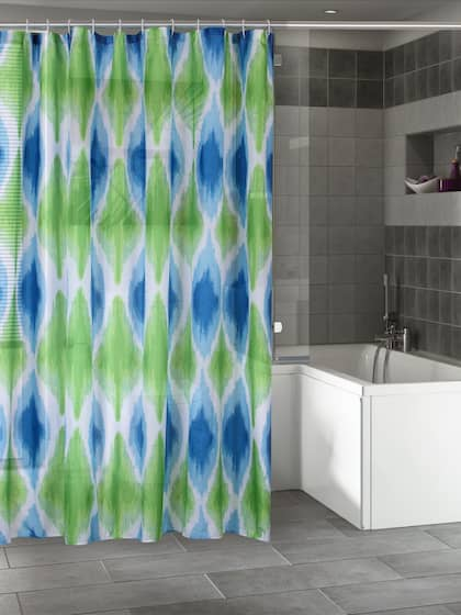 BOMBAY DYEING Blue Green Printed Shower Curtain