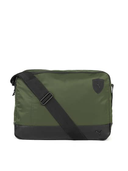 Puma Uni Olive Green Black Solid Reporter Messenger Bag