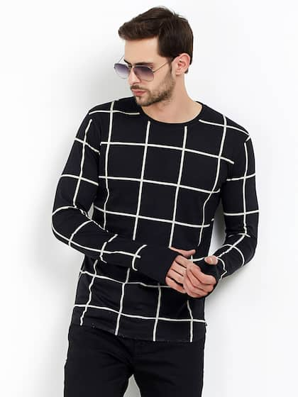 Maniac Men Black Checked Round Neck T-shirt